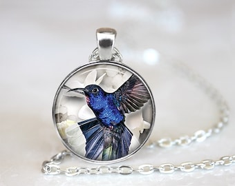 Blue Hummingbird Glass Pendant/Necklace/Keychain