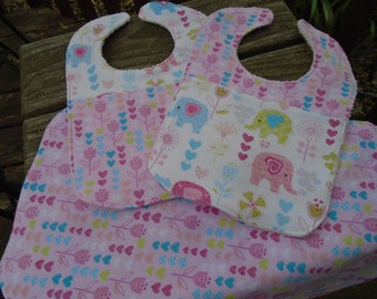 Baby girls bibs and burp cloth set, baby shower gift, elephant print, flower print, terrycloth, multicolor print, hearts, new mom gift