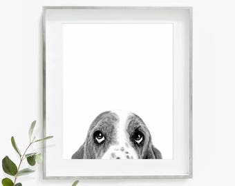 Basset Hound Print, Basset Hound, Dog Poster, Watercolor Art, Nursery Print, Printable Wall Art, Instant Download, Dog Print, Gift
