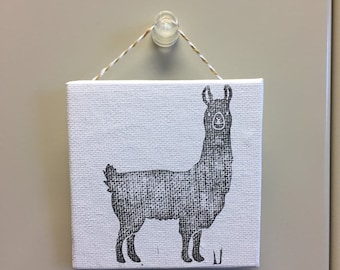 Llama Print on Mini Canvas