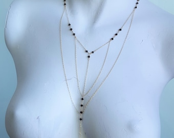 Statement Body Harness Style Necklace 'Y' Drop Necklace Made with Gold Filled Chain & Findings
