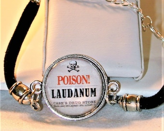 Goth Poison Laudanum Cord Picture Bracelet
