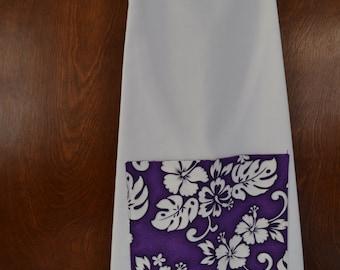 Hawaiian twill apron, purple pocket on white, ladies size S/M, 10-12