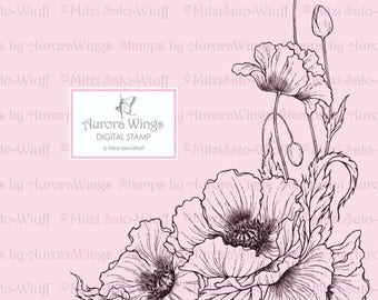 Digital Stamp - Instant Download - Poppy - digistamp - Oriental Poppy - Detailed Floral Line Art for Cards & Crafts by Mitzi Sato-Wiuff
