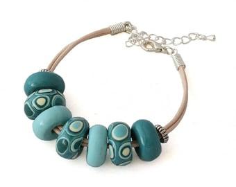 Chunky Bracelet - Blue Beaded Bracelet - Boho Bracelet - Teal Bracelet - Festival Bracelet - Cotton Cord Bracelet - Mothers Day Gift for Her