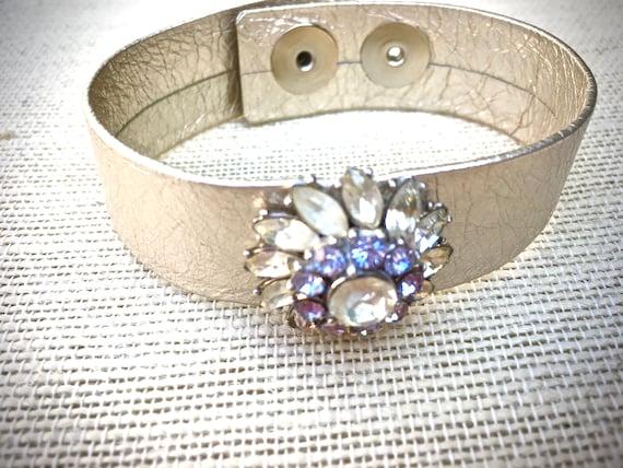 Rhinestone Leather Bracelet, handmade vintage assemblage bracelet