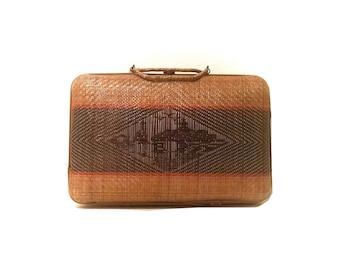 Vintage wicker woven rattan bohemian basket handbag purse