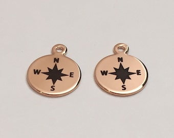 2 pc rose gold compass, compass charm, jewelry supplies B35-R1