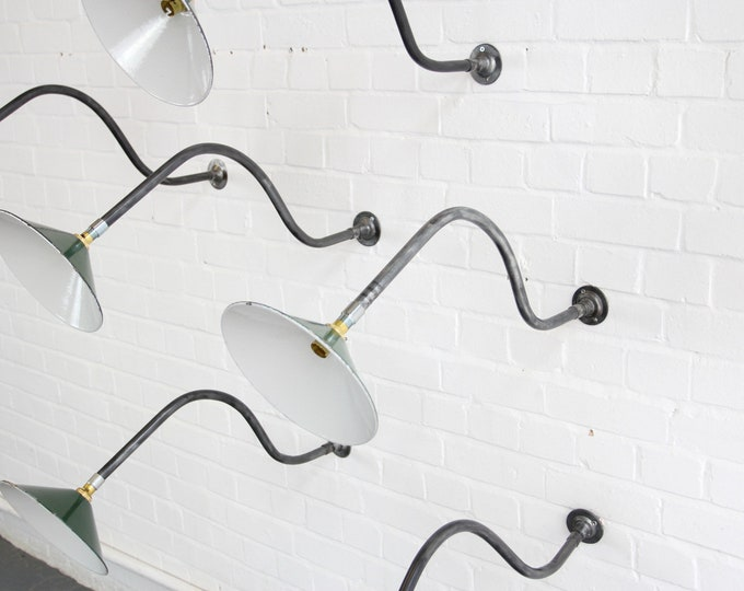 Early 20th Century Swan Neck Industrial Wall Lights
