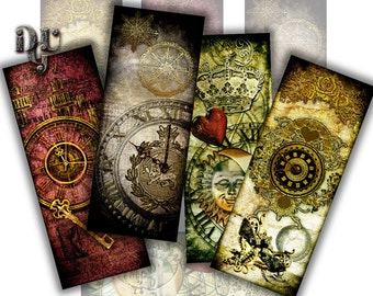 STEAMPUNK Bookmarks Digital Collage 8 bookmarks Victorian Style Collage Sheet, Instant Download Junk Journal Tags Scrapbook Digital S_003