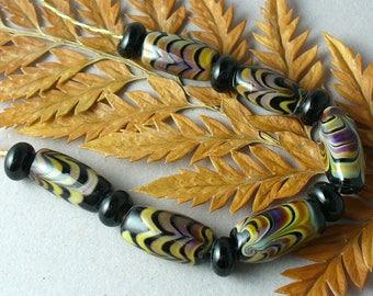 Lampwork beads/SRA lampwork/beads/handmade lampwork beads/feathered/organic/earthy/reactive/multicolor/