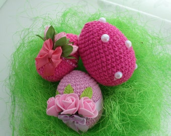 Easter eggs set of 3, spring decoration, crochet, a gift for Easter, Easter basket, Easter decoration