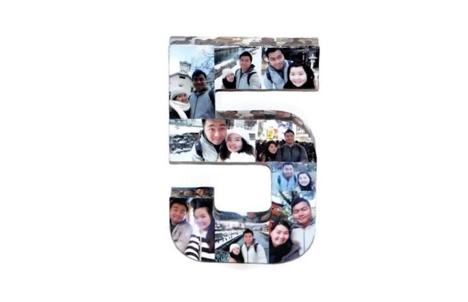 12 Photo Letter Number 5th Wedding Anniversary 5th Birthday Number 5 ...