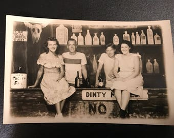 Vintage 1940's RPPC Black and White Photograph Postcard Drinking Alcohol Bar Dinty Moores Couples