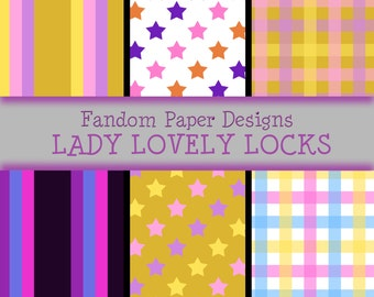 Lady Lovely Locks - Digital Scrapbook Paper - Six Sheets