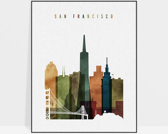 San Francisco art print, San Francisco skyline wall art, watercolor poster, travel decor, housewarming gift, wall decor, ArtPrintsVicky