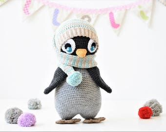 PATTERN - Pompom hat penguin - crochet pattern, amigurumi pattern, PDF (English, Dutch)