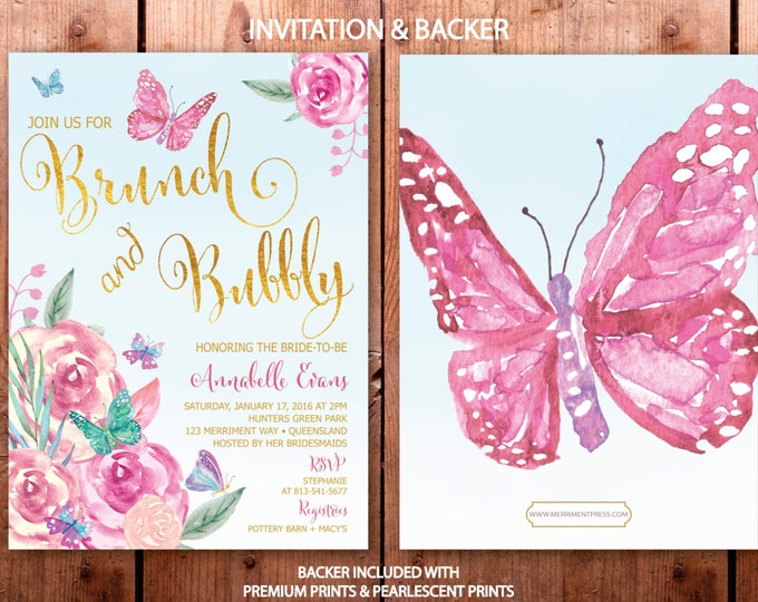 Butterfly Brunch and Bubbly Invitation / Butterflies // Bridal Shower invitation // Butterfly // Floral // Watercolor // VICTORIA COLLECTION