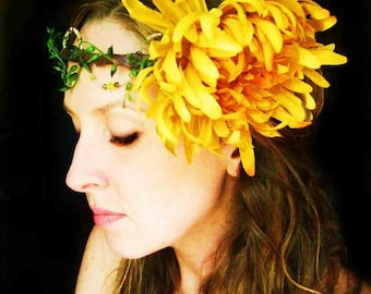 Sunburst Golden Yellow Mum Bridal Headpiece with Crystals and Pearls-wear it 4 ways with free shipping worlwide