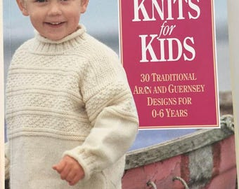 "Knitting pattern book Debbie Bliss vintage 1994 ""Classic Knits for kids"" 30 traditional aran and guernsey designs for 0-6 year old children"