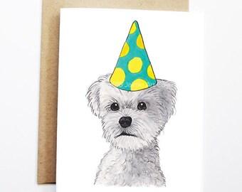 Birthday Card - Maltese, Dog Birthday Card, Cute Birthday Card, Dog Card, Bday Card, Kids Birthday Card, Friend Birthday Card