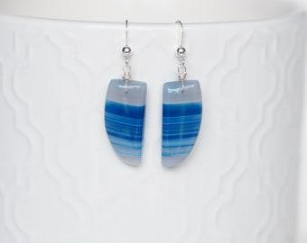 Blue Agate Earrings - OOAK - Blue Agate- Blue Earrings - Striped Earrings - Unique Earrings - Mothers Day - Something Blue - Silver Earrings
