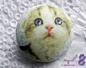 Fabric button, so cute cat, 24 mm / 0.94 in