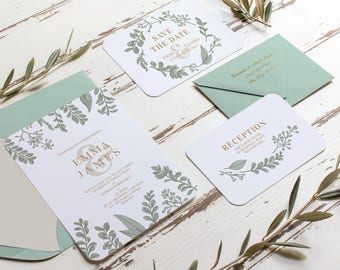 Wedding Invitation Printable - botanical wedding Invites - Foliage Wedding Invitation - Printable Wedding Invitations - DIY Invitation Card