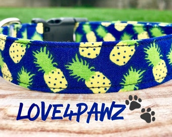 Tropical Summer Golden Pineapples on Blue Fabric Adjustable Dog or Cat Collar
