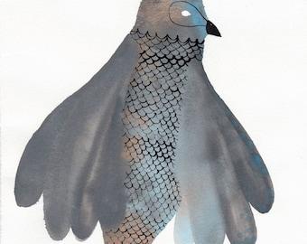 Grey Bronze and Blue Bird Fish /  Original / gouache painting