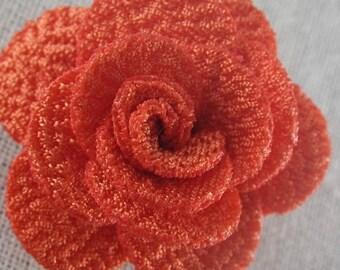 Bouton pression fleur en tissu orange