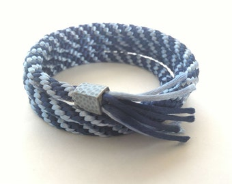 Kumihimo coil wrap friendship cuff bracelet-blue and grey spiral pattern