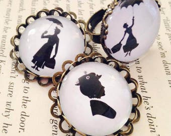 Disney Mary Poppins Silhouette Themed 25mm Pin Brooch or Ring