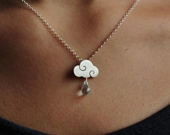 SWEET CLOUDS - sterling silver pendant cloud with blue topaz drops - satin finish - calcagnini gioielli