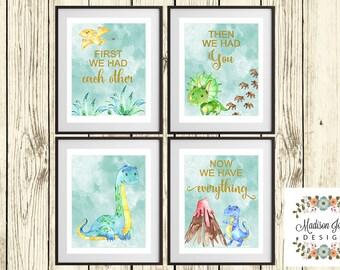 DINOSAURS Baby Boy WALL ART, Baby Dinosaurs Wall Art, Boy Wall Decor, Baby Boy Baby Shower Gift, Instant Download, Digital Printable