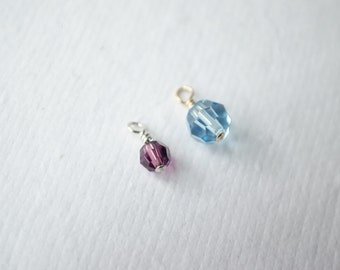 ADD CRYSTAL CHARM - Swarovski Birthstone Crystal or Pearl - 4mm or 6mm