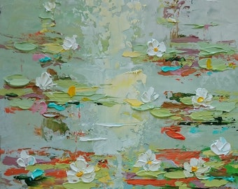 Lilies pond; impressionism waterlilies painting; palette knife painting