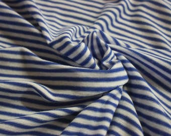 "Royal Blue And White Pin Stripe Rayon Spandex Jersey 60"" Wide Per Yard"