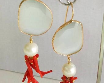 Earrings Pearls Red Coral Gold cat eye gift for you, mother gift, birthday, Made in Italy