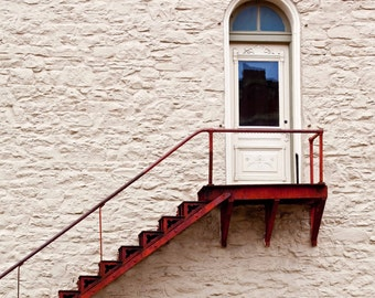 Red Stair 16x24 Fine Art Photography Primary Colors White and Blue Minimal Home Decor Large Wall Art Simple Clean lines Brick Wall building