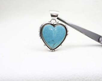 Sterling Silver and Kingman Turquoise Heart Pendant