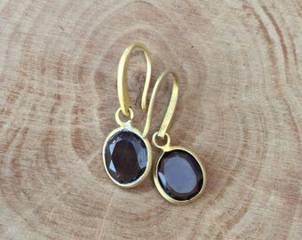 Smoky Quartz gold oval dangle earrings smoky Quartz gold vermeil drop earrings boho gift for her Mother's Day gift bridesmaids gift
