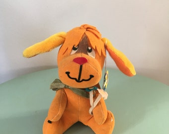 Vintage 60s Plush, Dream Pets, orange Rufus Dog, Dog Plush, Dakin Plush Animal, Vintage Stuffed Animal