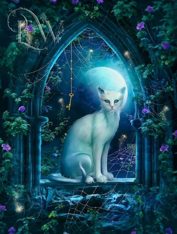 mystical white fantasy cat in window art print