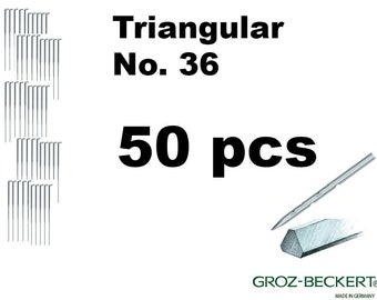 Triangular felting needles, Gauge 36. Price for 50pcs. Made in Germany.