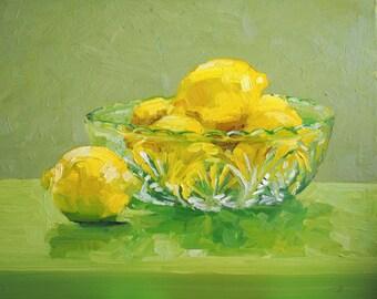 Lemons in a Glass Bowl