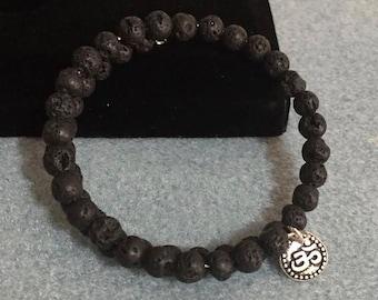 Lava Beads Bracelet with Om Charm