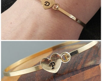 Gold Initial Bangle, Personalized Bracelet For Women, Hand Stamped Initial Bracelet
