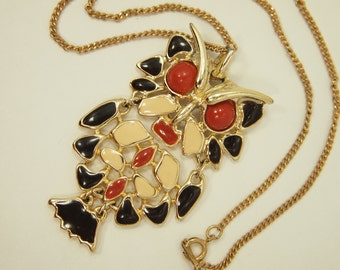 """Vintage Owl Necklace - Articulated Enamel Owl Pendant - Gold Plated Metal Elements - Chain 17"""" - Pendant 2.5"""" length x 1.5"""" width"""