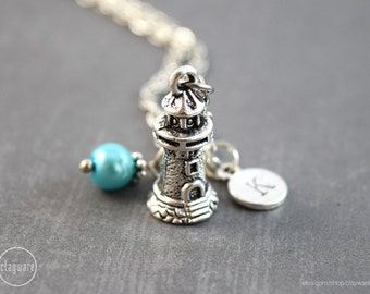 Lighthouse Personalized Necklace - Nautical Jewelry - Birthstone Gemstone Necklace - Lighthouse Jewelry - Lighthouse Pendant Charm